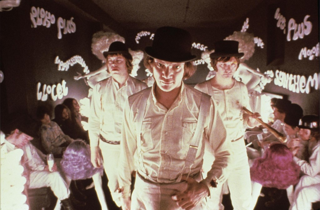 Alex and Droogs in the Kerova MilkBar of A Clockwork Orange