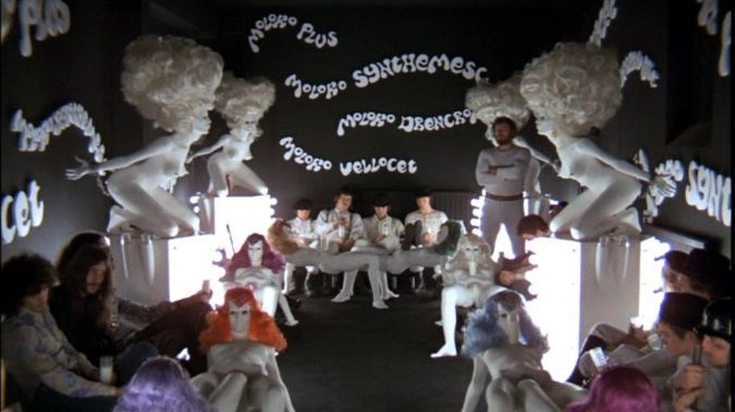 Opening Shot in A Clockwork Orange.