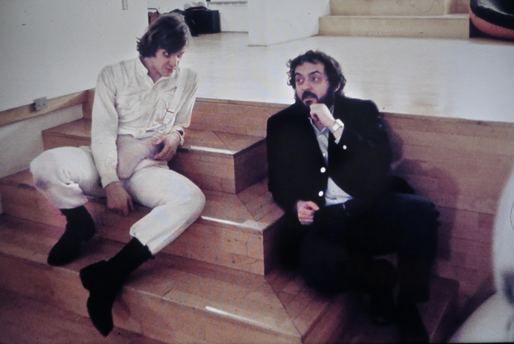 Malcolm McDowell and Stanley Kubrick on the set of A Clockwork Orange.