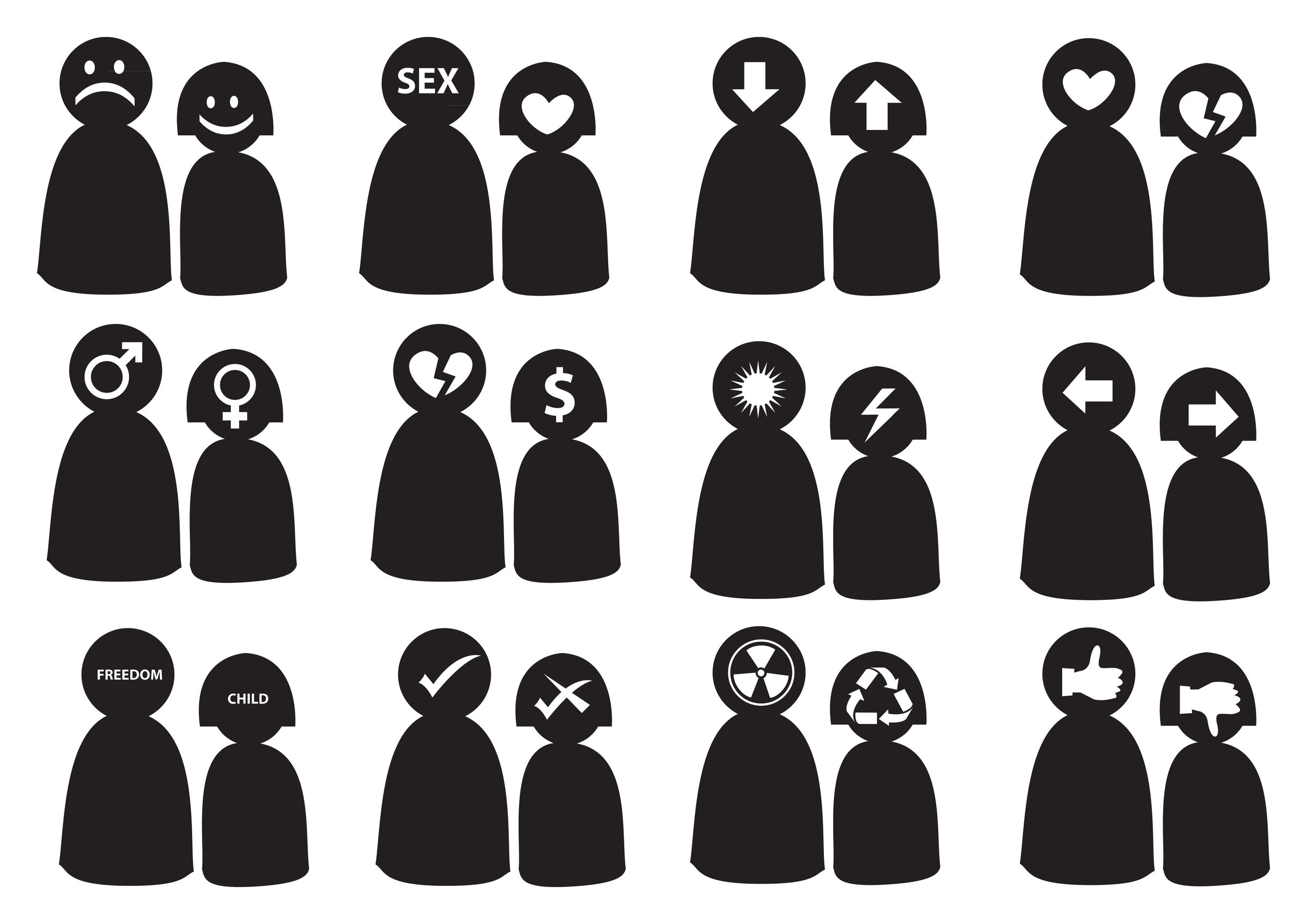 30569705 - illustration for differences in man's and woman's thinking. conceptual icon set.
