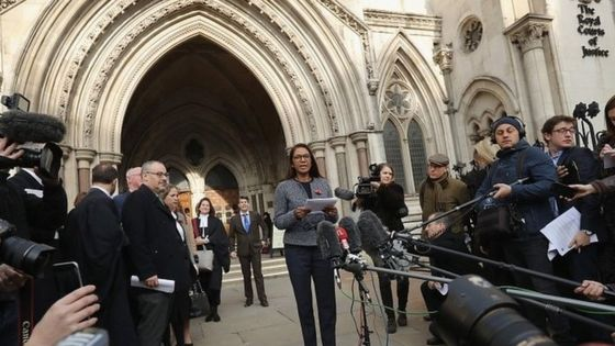 Image of Gina Miller outside High Court - BBC Image