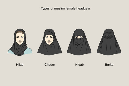 43611947 - muslim female headgear. traditional hijab collection