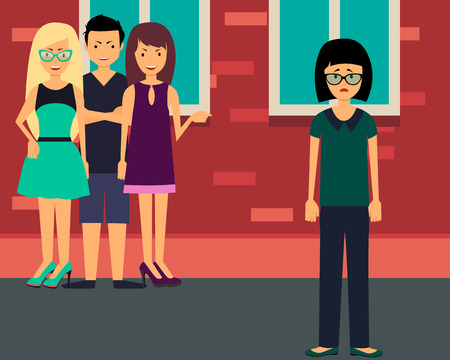 44288353 - bullying lonely girl. upset teenage girl with friends gossipers. vector illustration