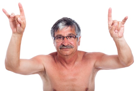 14779657 - middle aged man rebel gesturing, isolated on white background.